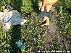 Divine Russian babe bends down to welcome a hard fuck from behind after she sucks a meety dick rapaciously during a picnic outdoors in sultry pov sex video by WTF Pass.