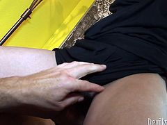 Disgusting brunette in black dress strips and kneels down to give a blowjob