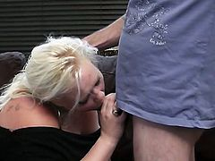See a naughty blonde BBW sucking and riding her her GF's husband's cock. She's in a perverse mood today!
