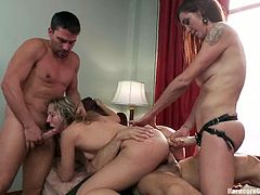 It's a wild gangbang with double penetration by cocks and strapon as there are cocks and a girl fisting fucking and abusing one chick!
