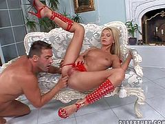 Young slender blonde hottie Eleanor with long legs and small boobies in red undies and roman sandals gets her tight cunny fingered to wet orgasm by tanned muscled stud