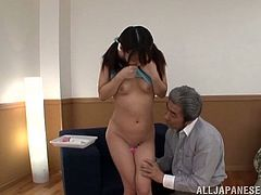 Pretty Japanese girl with pigtails takes her skirt off and then gets her vagina toyed with vibrators by some hoarhead.