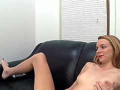 Well-stacked wench Ava Hardy does striptease before she sticks dildo in her hole