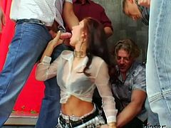 Fuckable red-haired stripper pleases horny dudes during bachelor party