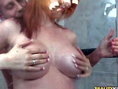 One of a kind redhead bombshell with big firm balloons and soft milky skin teases her lover in shower boot with delicious ass and gives him mind blowing blowjob in pov