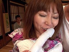 Two rapacious dudes give bad times to shaved cunt of salty Japanese milf. One of them holds her from behind while another dude finger fucks her snatch remembering to tease her clit with vibrator in steamy threesome sex video by Jav HD.