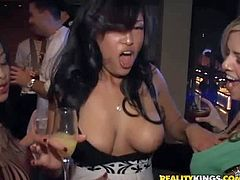 Smoking hot pretty pornstar hotties Savannah Stern, Melanie, Kina Kai and Gianna Lynn with gigantic tits get nasty in the club and start making out with each other on dance floor