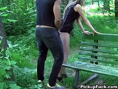 He drills her slit in doggy style and makes her moan with pleasure. After steamy pounding she jerks off his dick and sucks it like greedy. Enjoy outdoor public sex fun for free.