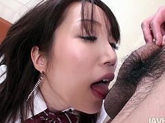 Narrow eyed sweetie from Japan Shizuku Morino fills her mouth with 5 inches of manly meat. She licks those hairy balls flaunting her milk skinned titties.