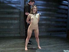 Amazing girl gets her boobs whipped and spanked. After that she gets tied up and fucked by a fucking machine.