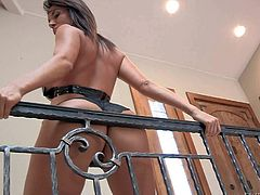 Sexy ass and arousing brunette Francesca Jaimes enjoys in posing in her lingerie and heels and revealing her big tight booty to Manuel Ferrara while hes holding the camera