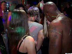 Now that's a party! Cum addicted sluts suck multiple cocks for cum and get their pussies drilled hard in doggy style while partying hard in the night club.