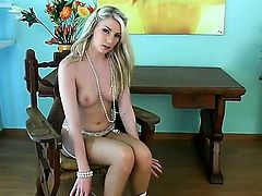 Danielle Maye with clean beaver does striptease before playing with her snatch