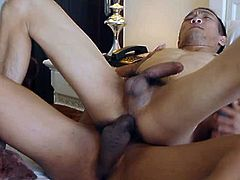 Guy rolls Daniel onto his side and pounds his ass as he pulls roughly on his nipples. Guy loves being so dominant and hammers Daniels hole until he is ready to unload. He covers Daniels balls and ass in cum.