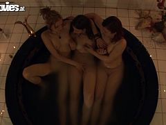 Cora Blau, Heidi O and Susi Sudberg relax in Jazucci. Then they massage and lick each others hot tits.