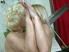Mature lasbian whore teaches slim blonde babe