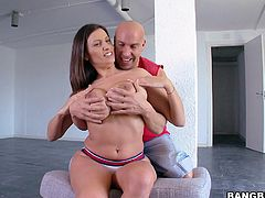 Romanian whore Jane has a pair of big naughty boobs and a hot ass under those white panties that makes cocks rock solid. She's about to fuck like a whore and barely waits for it. Watch her making this guy aroused and allowing him to play with her breasts before she sucks his cock and much more! Enjoy