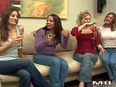 Attractive always horny lesbian brunettes Kristen Cameron, Bella and Brianna Ray with nice juicy hooters and hot asses bring home hot milf and have spontaneously foursome in living room