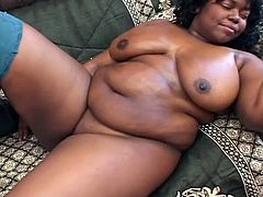 Black bbw enjoys a thick white cock