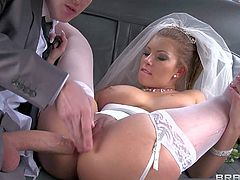Gorgeous brunette Donna Bell with delicious ass and dark make up in white stockings and high heels gets licked by young Dany D and rides on his cock in the limo