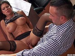 Teri Weigel is a lady boss with huge tits and always wet pierced pussy. She gets her sexual fantasies fulfilled by horny employee Keiran Lee. Big breasted milf gets her snatch licked and banged at work.
