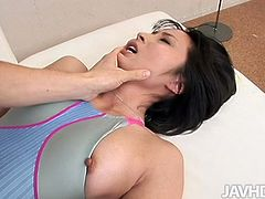 Yuki is wearing tight swimsuit filming in a steamy Jav HD porn movie. She lies flat on her back stretching her legs wide. The horny guy inserts his fingers in her snatch pleasing Yuki much.