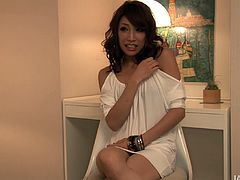 Adorable girl Aya is wearing white dress that suits her much. She gives a short interview sitting still in front of the cam. Then she is offered to suck tasty cock. She takes it in her mouth with pleasure.