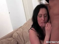 Mature hooker gets pussy licked in close-up at hardcore orgy