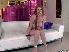 Lilith Lust is s stunning big racked adult model in sexy shoes. She shows off her huge round melons and puffy pink pussy on the couch. Then she spreads her legs for lucky curious guy.