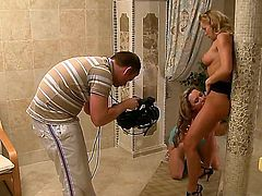 Wonderful blonde with tight boobies and sexy body Silvia Saint got her girlfriend in the shower and pleasing her shaved cunt with her tongue