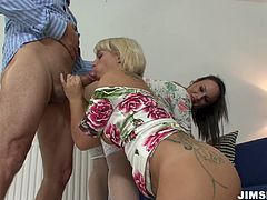 Duet of super curvy housewives in hardcore threesome