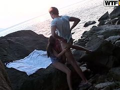 Sexy hottie along her guy are being filmed when having hardcore sex in the outdoors