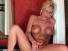 Hello guys and sexy girls! This is a hot scene with a naughty and a pretty blonde bitch named Lacey Foxx. She rub her gorgeous pussy and gets pleasure! Watch and enjoy!!!