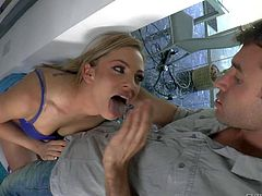 Bailey Blue is one hot chick with sexy firm ass. She pulls off her shorts and panties and then gets her tight asshole finger fucked from behind. She takes fingers so deep in her anal hole.