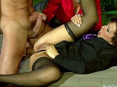 These playful chicks with nice butts know how to make things hotter. They are fighting over this guy's hard dick! And brunette whore takes the lead. He fucks her hard in missionary pose, driving her nuts.