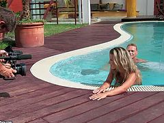 Pretty blonde gets nailed by the pool