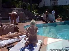 Sandy, Jasmin, Cherry Jul and Jane F enjoy in hot summer day by the swimming pool in the yard and show their hot naked bodies to the camera before having fun with boys