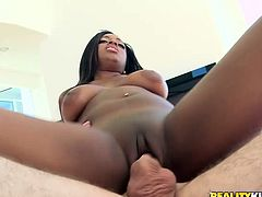 Seductive black chocolate has got gorgeous body shape. She works out in a gym a lot to keep the shape. Today, she is doing a bit different exercises that are also pretty effective. Watch her fucking actively in a gym taking hard white stick in her wet cunt.