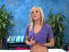 Britney seemed a bit shy but about 10 minutes into her massage session she ask