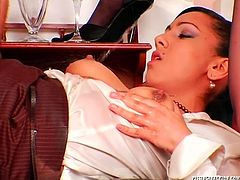 Steamy brunette and red-haired milfs please a voracious bald daddy. He pokes they in a myriad of styles and later pisses on their cute faces and tits in perverse threesome sex orgy presented by Tainster.