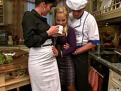 Shooting of the cooking TV show ends up with a wild threesome sex orgy where two matures give head to young cook before he takes one of them in doggy pose.