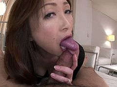 Fuck hungry Japanese mature gives a fantastic blowjob to young wanker before she takes off her close revealing steamy body covered with tiny lingerie in order to give a foot job in sultry pov sex video by All Porn Sites Pass.