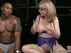 Blonde milf gets pleased by black hunk during nasty hardcore deep penetration