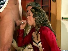 Divine brunette boss gives a blowjob to her employee before she gets on him for a ride in cowgirl style through a hole in her pantyhose. All of that time they are watched by sex greedy office manager to later joins them to give him double blowjob in sizzling hot threesome sex video by Tainster.