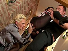 Two rapacious milfs enjoys sucking meety dick after pissing on each other