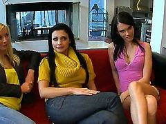Aletta Ocean with phat booty and Jennifer Dark strips naked before they fondle each other