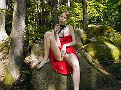 Sexy teen likes posing while getting naughty in wild and horny solo in outdoors