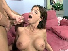 This horny bitch loves sex but it is hard to satisfy her. That is why she calls all guys from her class to her house. She gets gangbanged and pleased in a bedroom.