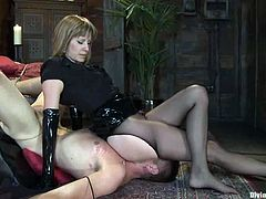 Maitresse Madeline is going to give a handjob to a guy after strapon fucking him in this pegging and femdom session packed with bondage and torturing action.