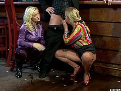 Two messy lesbians give blowjob to kinky daddy before he starts drilling one of them in doggy pose from behind getting his balls polished by another hoe until he pisses on her face in insane threesome sex video by Tainster.
